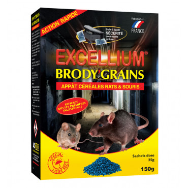 Brody'Grains appât céréales rats & souris Excellium